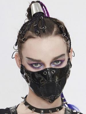 Black Gothic Punk PU Leather Tusk Mask