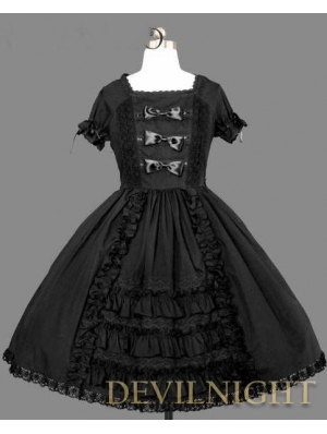 Black Short Sleeves Ruffles Bow Sweet Gothic Lolita Dress