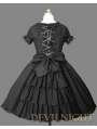 Black Short Sleeves Ruffles Bow Sweet Gothic Lolita Dress