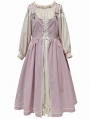 Ivory and Pink Two-pieces Off-the-Shoulder Lantern Sleeve Sweet Lolita OP Dress
