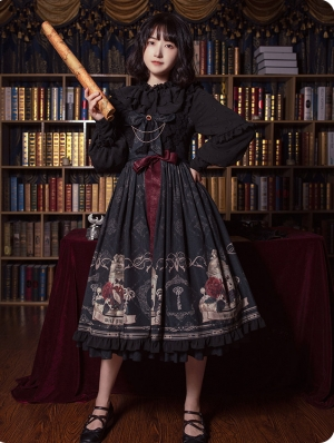 Nightingale and Rose Black Pattern Gothic Lolita JSK Dress