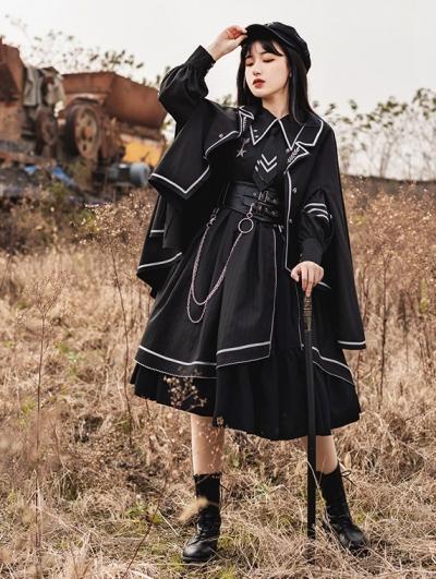 Loyal Chariot Black Naval Style Lantern Sleeve Gothic Lolita OP Dress
