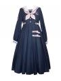 Navy-blue and Pink Sailor Collar Lantern Sleeve Classic Lolita OP Dress