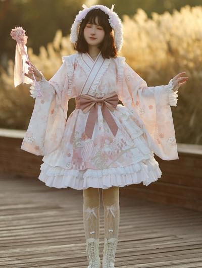 Pink Sakura Pattern Sweet Lolita OP Dress
