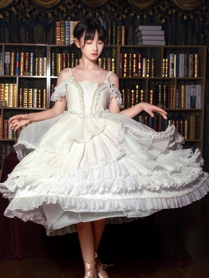 Wild Swan White Romantic Ballet Sweet Lolita JSK Dress