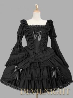 Black Long Trumpet Sleeves Sweet Gothic Lolita Dress