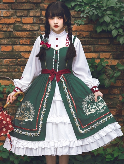 White and Green Fake Two-Piece Long Sleeve Classic Lolita OP Dress