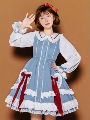 White and Blue Doll Collar Sweet Lolita OP Dress