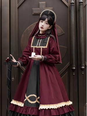 Red Long Sleeve Nun Style Gothic Lolita OP Dress