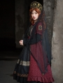 Black and Red Queen Style Long Sleeve Gothic Lolita OP Dress