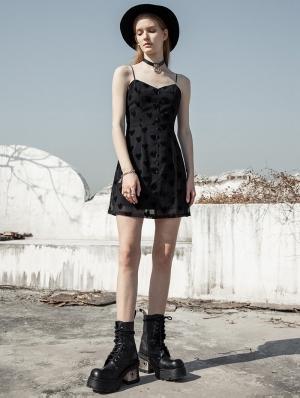 Black Street Fashion Daily Wear Heart Gothic Grunge Short Chiffon Dress