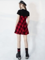 Black and Red Plaid Fake Two-Pieces Daily Wear Gothic Grunge Short Dress
