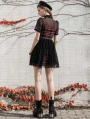 Black and Red Plaid Short Sleeve Daily Wear Gothic Grunge Short Dress