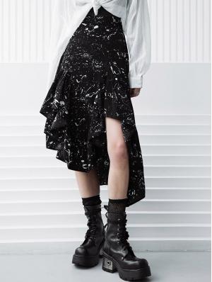 Dark Printed Daily Wear Gothic Grunge Irregular Skirt