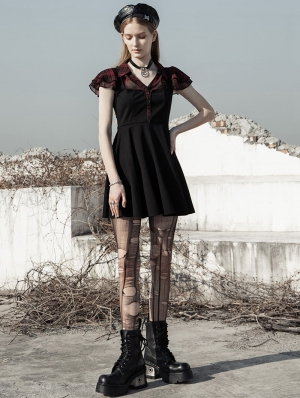 Black and Red Street Fashion Daily Wear Gothic Grunge Short Dress