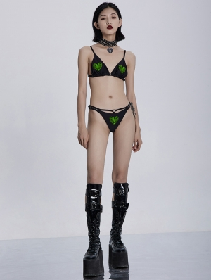 Black and Green Gothic Embroidery Love Two-Piece Bikini Set