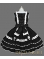 Black and White Sleeveless Lace Bow Sweet Gothic Lolita Dress