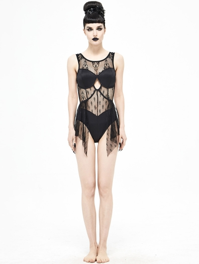 Black Gothic Lace One-Piece Swimsuit