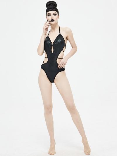 Black Gothic Sexy One-Piece Swimsuit