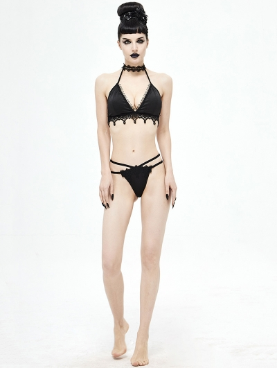 Black Gothic Sexy Lace Two-Piece Swimsuit Set