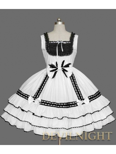 White and Black Sleeveless Lace Bow Sweet Gothic Lolita Dress