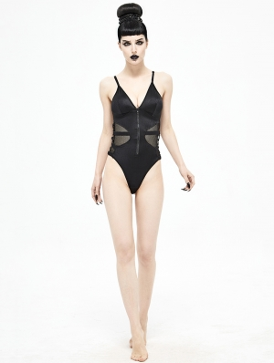 Black Gothic Punk One-Piece Swimsuit