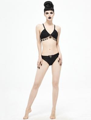 Black Gothic Sexy Tassel Two-Piece Bikini Set