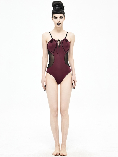 Dark Red Gothic One-Piece Swimsuit