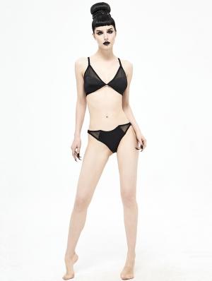 Black Gothic Bat Two-Piece Bikini Set