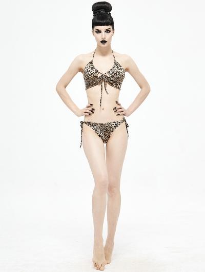 Leopard Gothic Sexy Two-Piece Bikini Set