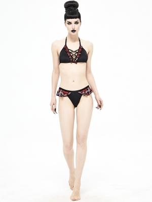 Black and Red Gothic Sexy Two-Piece Bikini Set