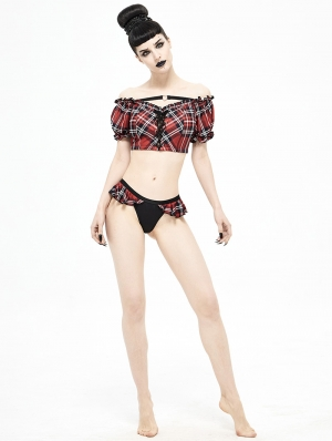Black and Red Plaid Gothic Cute Two-Piece Swimsuit Set