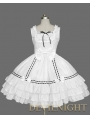 White Sleeveless Black Lace Bow Sweet Lolita Dress