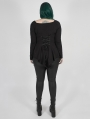 Black Gothic Lace Long Sleeve Irregular Plus Size T-Shirt for Women