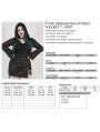 Black Gothic Punk Perspective Printed Hooded Plus Size T-Shirt for Women