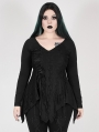 Black Gothic Gorgeous V-Neck Lace Long Sleeve Plus size Shirt for Women