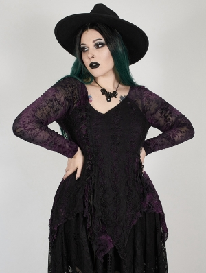Dark Violet Gothic Gorgeous V-Neck Lace Long Sleeve Plus size Shirt for Women