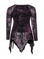 Dark Violet Gothic Gorgeous V-Neck Lace Long Sleeve Plus size Shirt for Women