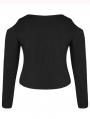 Black Gothic Punk Sexy Cracked Long Sleeve Plus size Shirt for Women