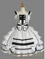White Bow Ruffles Sleeveless Black Lace Sweet Gothic Lolita Dress