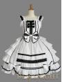 White Bow Ruffles Sleeveless Black Lace Sweet Gothic Lolita Dress