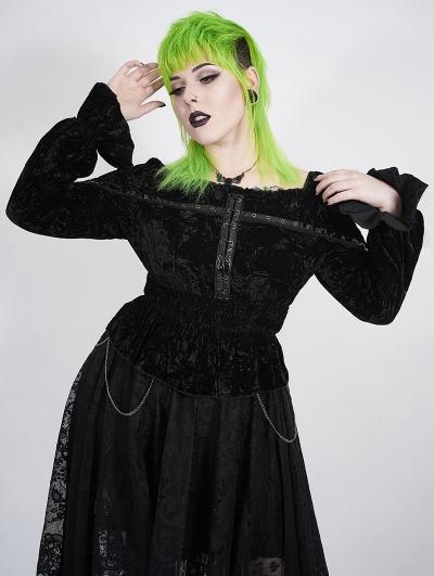 Black Gothic Punk Horizontal Collar Long Sleeve Plus size Shirt for Women