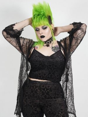 Black Sexy Gothic Velvet Plus size Camisole for Women