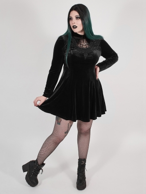 Black Gothic Velvet Dark Night Vines Short Plus Size Dress