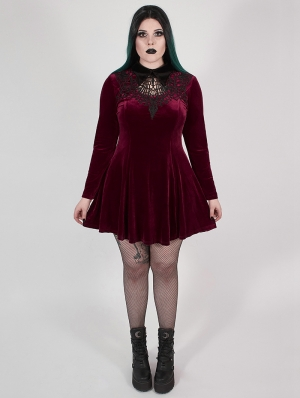 Wine Red Gothic Velvet Dark Night Vines Short Plus Size Dress
