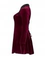 Wine Red Gothic Velvet Dark Night Vines Short Plus Size Dress