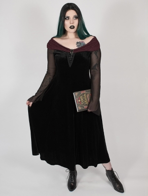 Black Gothic Velvet Horizontal Neck Long Plus Size Dress