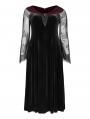 Black Gothic Velvet Horizontal Neck Long Plus Size Dress