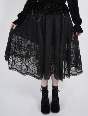 Black Romantic Gothic Lace Plus Size Skirt
