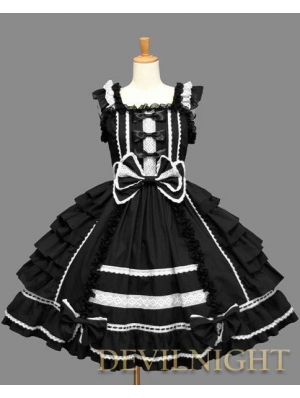 Black Bow Ruffles Sleeveless White Lace Sweet Gothic Lolita Dress